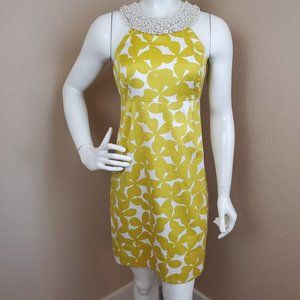 INC Mustard Floral Pearl Jewel Halter Dress 4